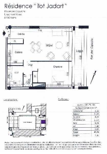 Erlon immobilier : plan appartement